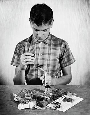 Boy Learning To Tie Flies Art Print