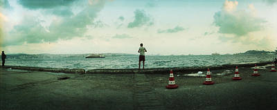 Boy Looking Out On The Bosphorus Art Print by Panoramic Images