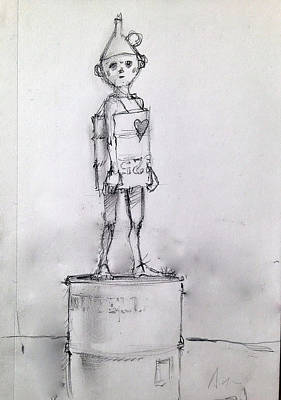 Playing Drawing - Boy Of Tin by H James Hoff