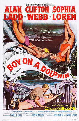 1957 Movies Photograph - Boy On A Dolphin, Us Poster, Center by Everett