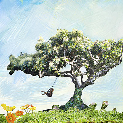 Boy On A Swing Art Print by Linde Townsend