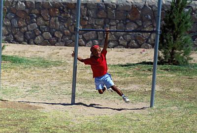 Boy On Swing Art Print by Mark Goebel