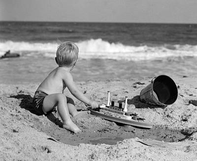 Boy Playing At The Beach, C.1950s Print by H. Armstrong Roberts/ClassicStock