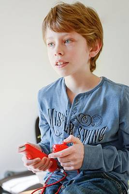 Boy Playing Wii Video Game Art Print