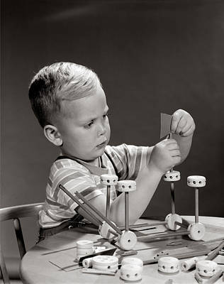 Boy Playing With Tinker Toys, C.1960s Art Print