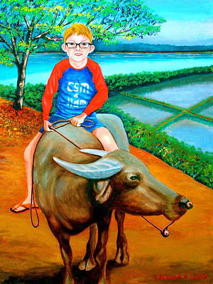 Boy Riding A Carabao Art Print by Lorna Maza