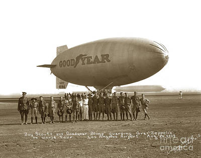 Photograph - Boy Scouts And Goodyear Blimp Guarding Graf Zeppelin Los Angeles Airport Aug. 26 1929 by California Views Archives Mr Pat Hathaway Archives
