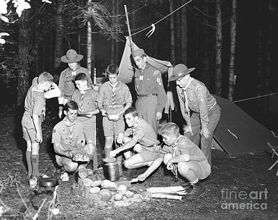 Art Print featuring the photograph Boy Scouts Campout 1962 Ca by Merle Junk