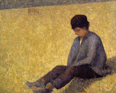 Pointillist Painting - Boy Sitting On The Grass, C.1882 Oil by Georges Pierre Seurat