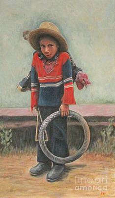 Boy Turkey And Wheel Game Art Print by Judith Zur