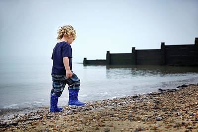 2-3 Years Photograph - Boy Walking On Beach by Ruth Jenkinson