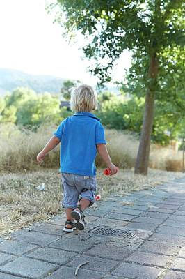 2-3 Years Photograph - Boy Walking On Path by Ruth Jenkinson