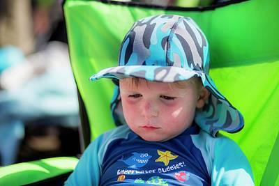 Boy Wearing A Sun Hat And Uv Clothing Print by Samuel Ashfield