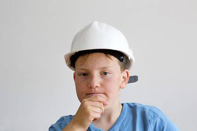 Hard Hats Photograph - Boy Wearing Hard Hat by Gombert, Sigrid