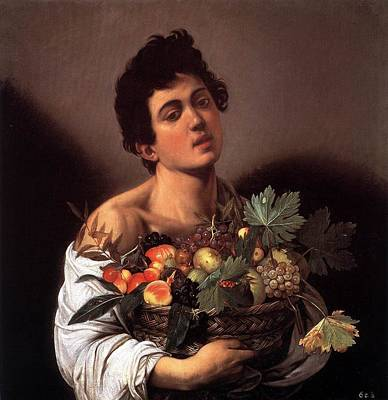 Caravaggio Painting - Boy With A Basket Of Fruit by MotionAge Designs