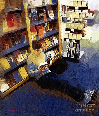 Bookshelf Painting - Boy With A Book by RC DeWinter