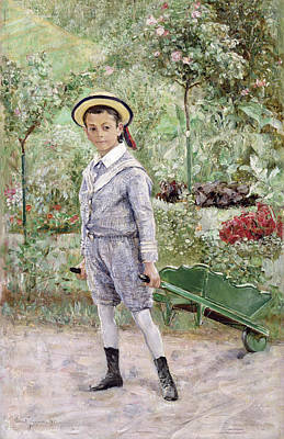 Child With Flowers Painting - Boy With A Wheelbarrow by Ernst Josephson