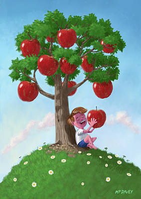 M P Davey Digital Art - Boy With Apple Tree by Martin Davey