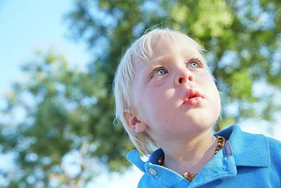 2-3 Years Photograph - Boy With Blonde Hair Looking Away by Ruth Jenkinson