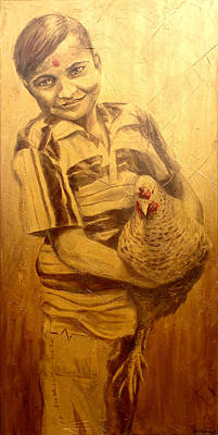 Boy With Chicken Original