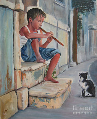 Boy With Flute And Cat Original by Osi