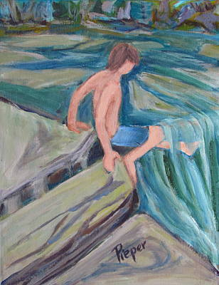 Boy With Foot In Falls Original by Betty Pieper