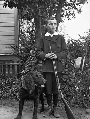 Dog Portraits From Photograph - Boy With His Rifle And Dog by Underwood Archives