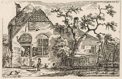 Solitary Drawing - Boy With Hoop At A Farm, Print Maker Hendrik Marcus Schouten by Hendrik Marcus Schouten And A.w.h. De Mari