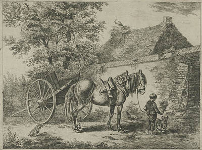 Stork Drawing - Boy With Horse And Dog, Print Maker Christiaan Wilhelmus by Christiaan Wilhelmus Moorrees