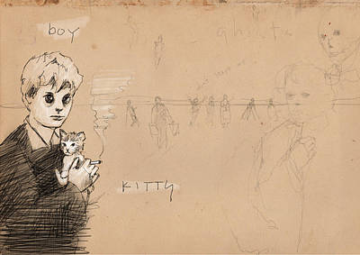 Kittens Drawing - Boy With Kitten by H James Hoff