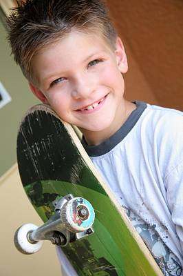 Boy With Skateboard Art Print by Colleen Cahill