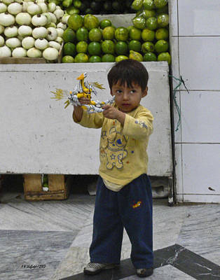 Photograph - Boy With Toy - Quito Market by Allen Sheffield