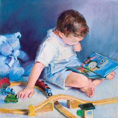 Pastel - Boy With Train by Beverly Amundson