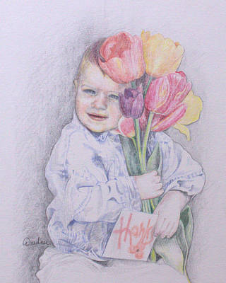 Drawing - Boy With Tulips by Kathy Weidner
