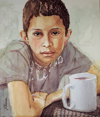 Boy With White Cup Art Print by Jeff Chase