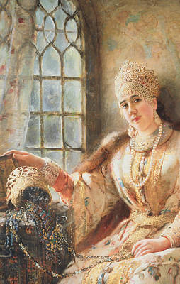 Elaborate Painting - Boyar's Wife At The Window by Konstantin Egorovich Makovsky