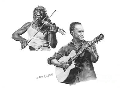 Boyd Tinsley Drawing - Boyd And Dave by Marianne NANA Betts