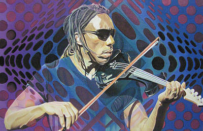 The Dave Matthews Band Drawing - Boyd Tinsley Pop-op Series by Joshua Morton