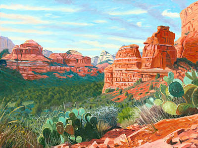 Prickly Pear Painting - Boynton Canyon by Steve Simon