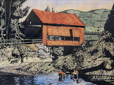 Covered Bridge Mixed Media - Boys And Covered Bridge by Joseph Juvenal