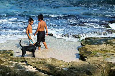 Photograph - Boys And Their Dog At The Beach by Trever Miller