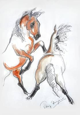 Wild Horse Drawing - Boys Are Boys by Tarja Stegars