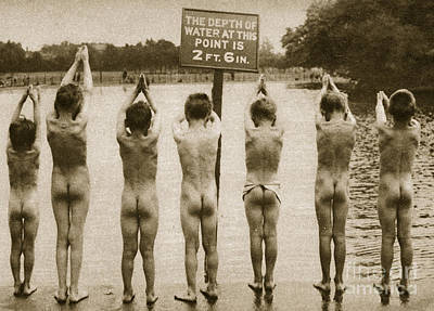 Bather Photograph - Boys Bathing In The Park Clapham by English Photographer