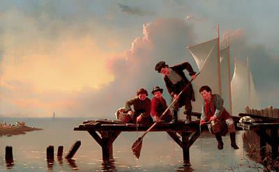 Boys Crabbing Print by Mountain Dreams