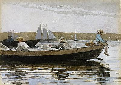Dory Painting - Boys In A Dory 1873 by Philip Ralley