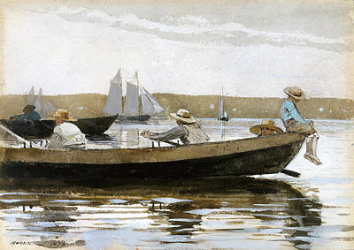 Boys In A Dory Drawing - Boys In A Dory by Winslow Homer