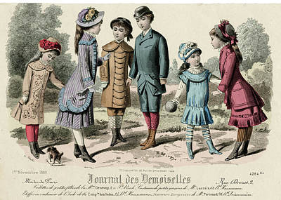 Girl With Coat Drawing - Boys Knickerbockers, Bowler  Hat, Tunic by Mary Evans Picture Library