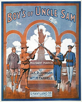 Statue Of Liberty Drawing - Boys Of Uncle Sam, 1917 by Granger