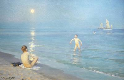 Skinny Dipping Painting - Boys On The Seashore In A Summer Night At Skagen 1899  by Peder Severin Kroyer
