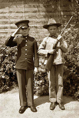 Photograph - Boys Playing Army 1898 by California Views Archives Mr Pat Hathaway Archives